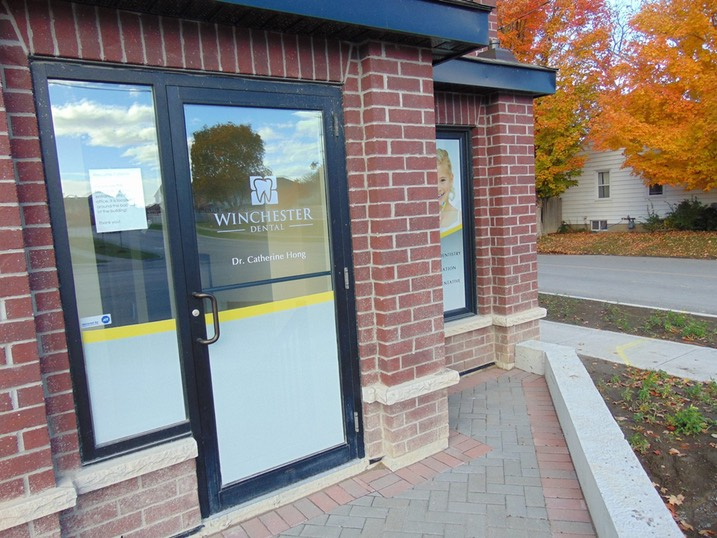 Front Door of Winchester Dental Office In Brooklin Ontario