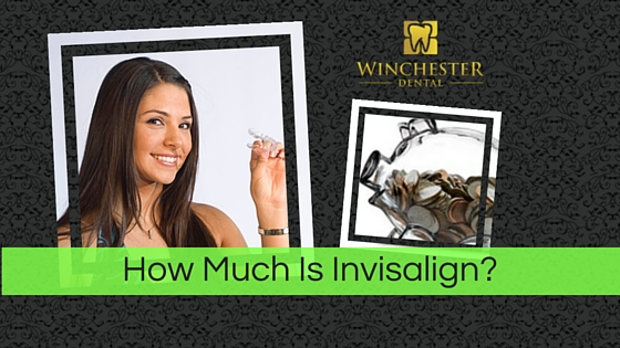 How Much Is Invisalign text over woman holding clear braces in her hand